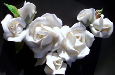 White Roses sugar flowers